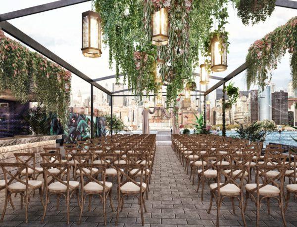 empty wedding reception area outside