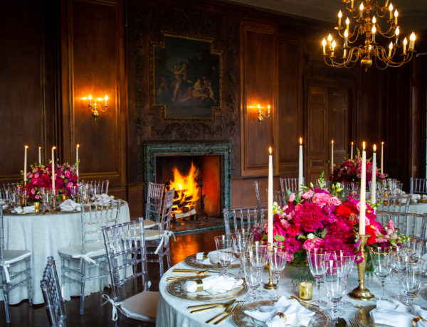 Fine dining area with table settings