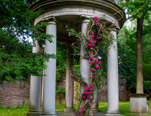 structure outside with flowers