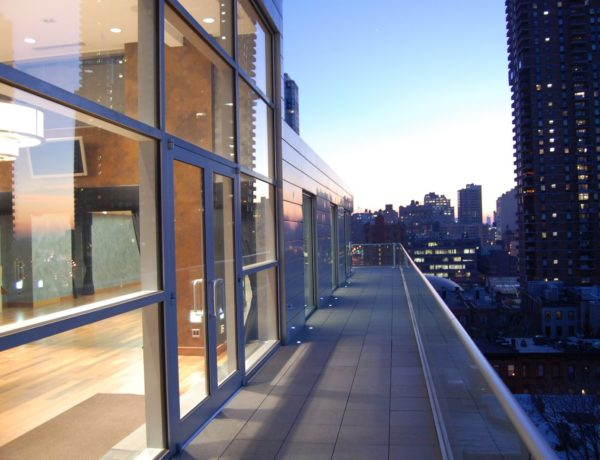 outdoor balcony with glass walls