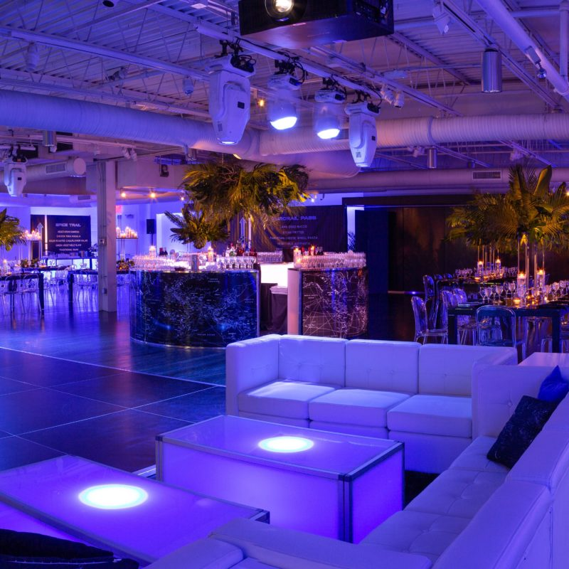 beautifully decorated interior event space with lounge area