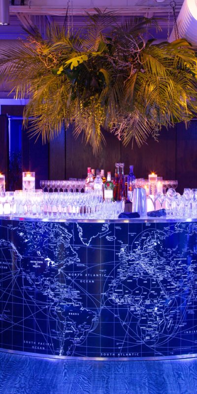 beautifully decorated interior event space with bar