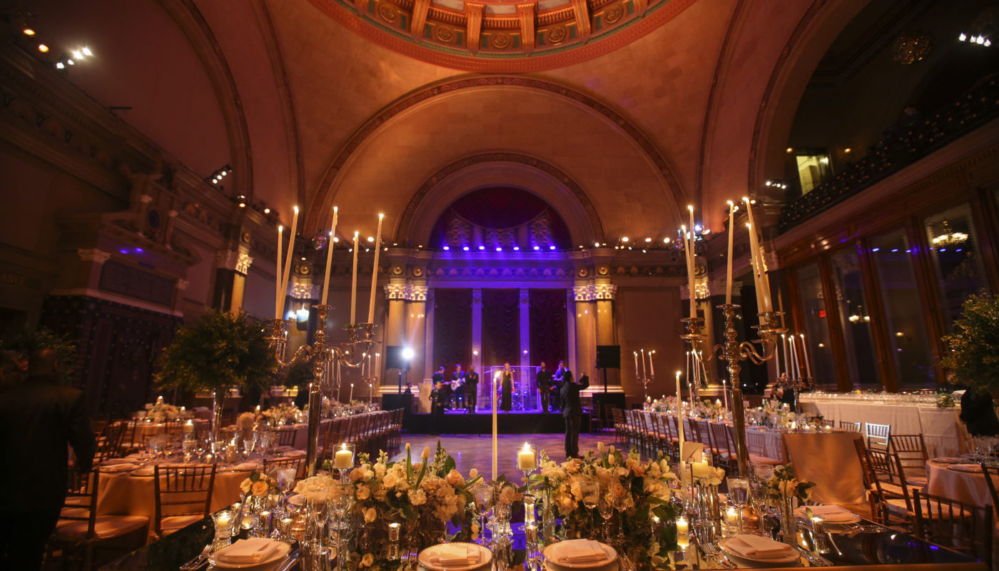 dramatic wedding table set up with candles at Weylin