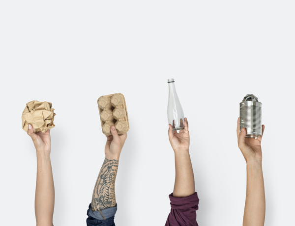hands holding up recyclables