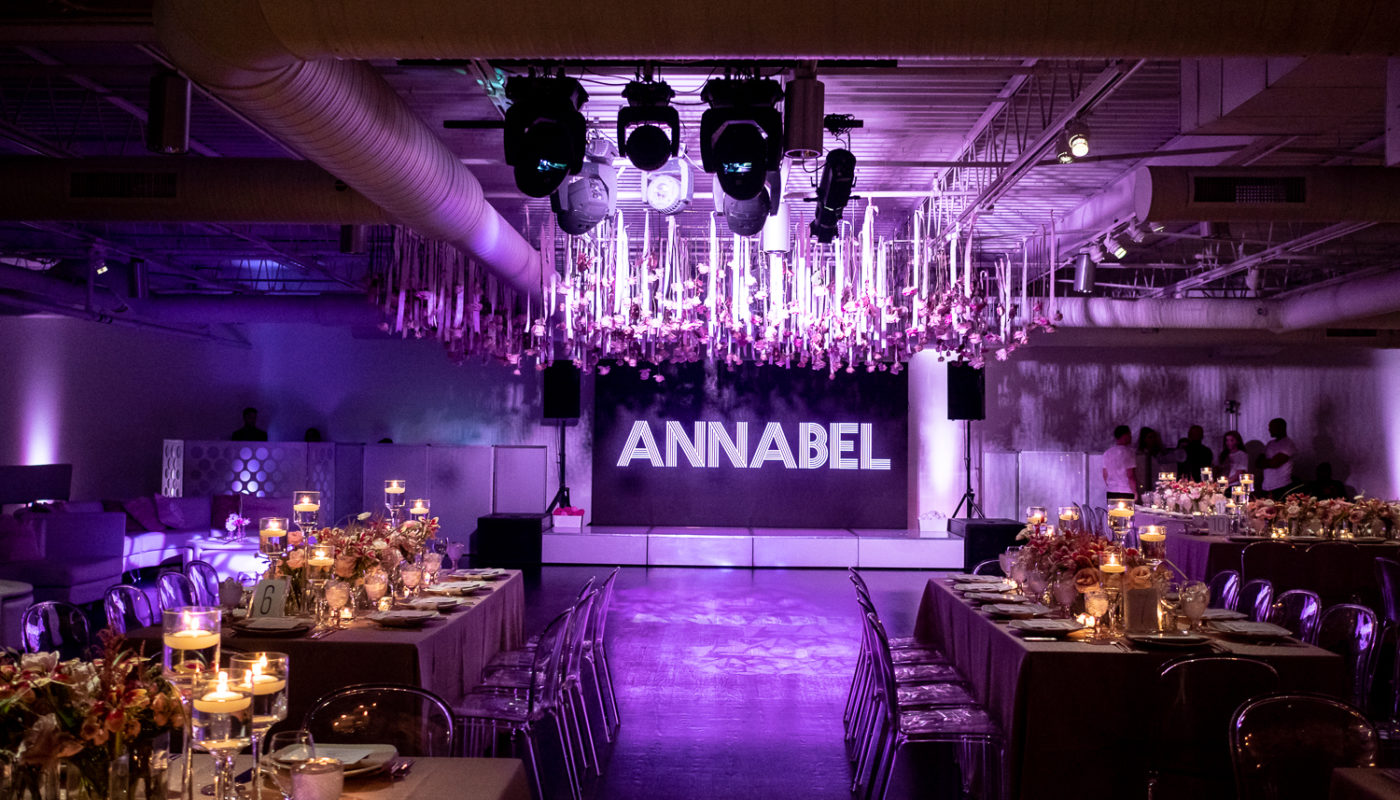 large interior venue with fine dining settings and a large sign that reads Annabel