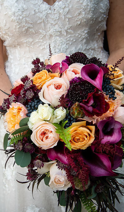 bouquet being held by a bride