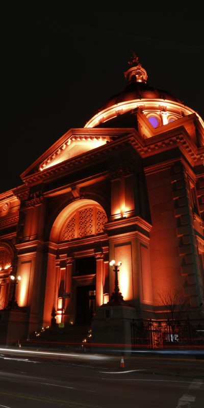 exterior shot of a venue with lots of lights