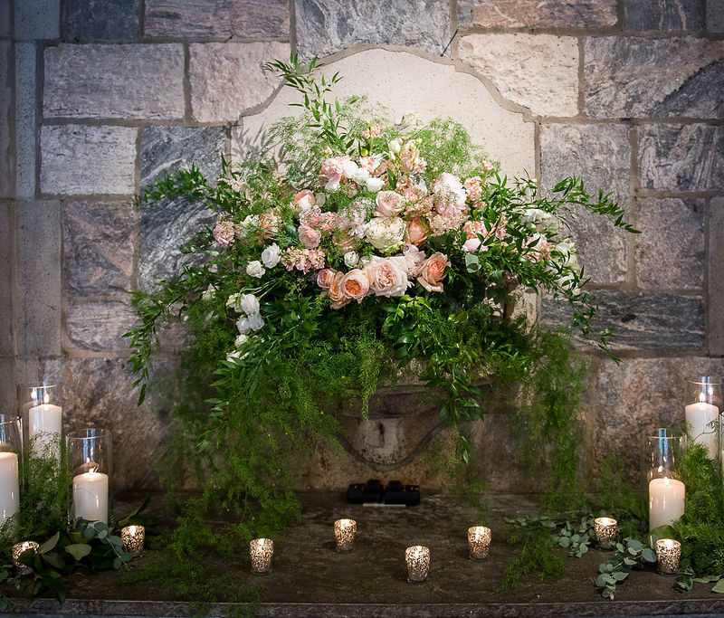 beautiful floral centerpiece and candles